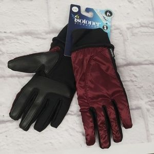 Isotoner Sleek Heat Womens Gloves Touch Screen Red